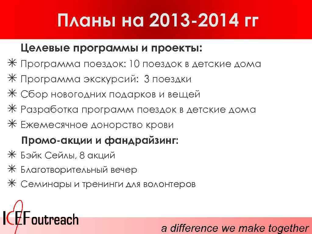 Планы на 2013 -2014 гг Целевые программы и проекты: ✴ Программа поездок: 10 поездок