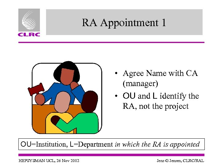 RA Appointment 1 • Agree Name with CA (manager) • OU and L identify