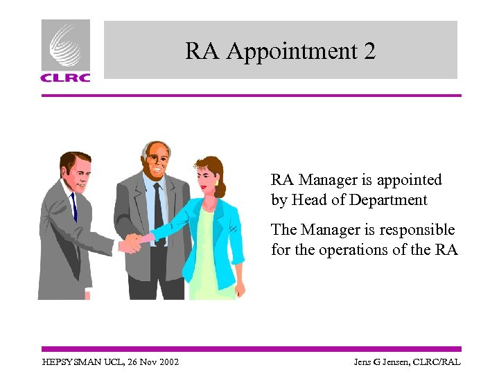 RA Appointment 2 RA Manager is appointed by Head of Department The Manager is