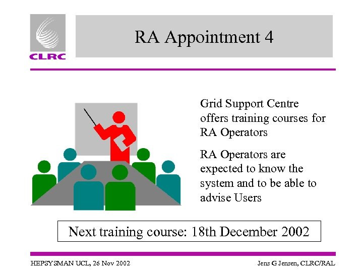 RA Appointment 4 Grid Support Centre offers training courses for RA Operators are expected