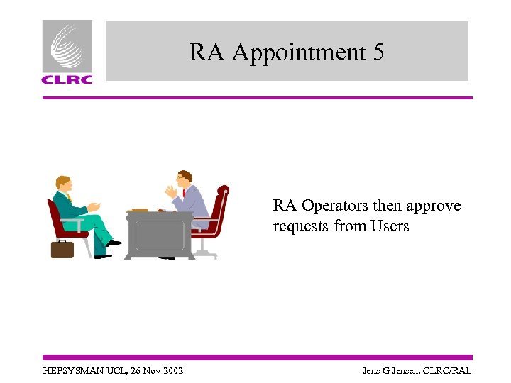 RA Appointment 5 RA Operators then approve requests from Users HEPSYSMAN UCL, 26 Nov