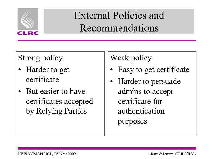 External Policies and Recommendations Strong policy • Harder to get certificate • But easier