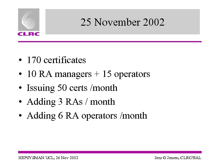 25 November 2002 • • • 170 certificates 10 RA managers + 15 operators