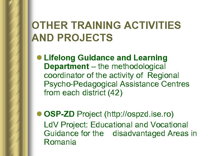 OTHER TRAINING ACTIVITIES AND PROJECTS l Lifelong Guidance and Learning Department – the methodological