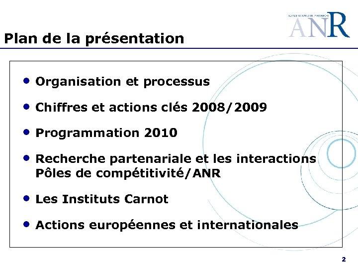 Plan de la présentation • Organisation et processus • Chiffres et actions clés 2008/2009