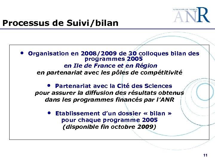 Processus de Suivi/bilan • Organisation en 2008/2009 de 30 colloques bilan des programmes 2005