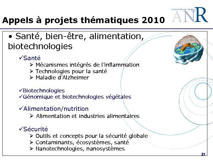 Appels à projets thématiques 2010 • Santé, bien-être, alimentation, biotechnologies üSanté Ø Mécanismes intégrés