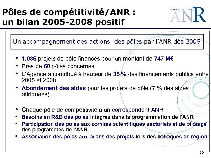 Pôles de compétitivité/ANR : un bilan 2005 -2008 positif Un accompagnement des actions des