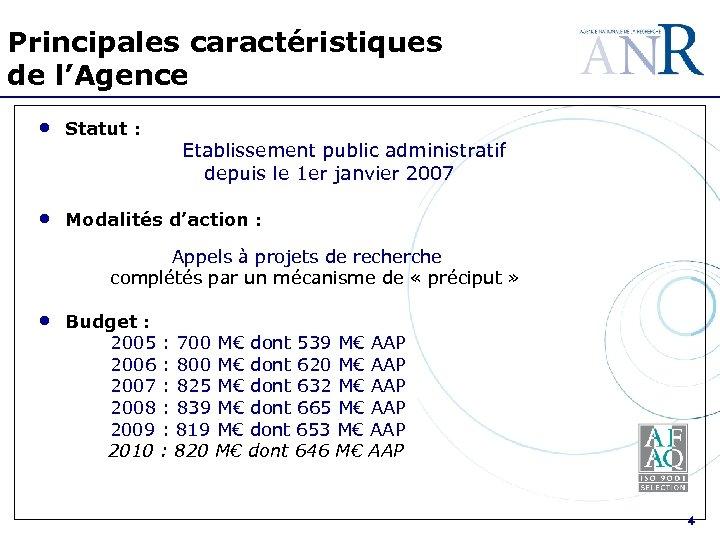 Principales caractéristiques de l'Agence • Statut : • Modalités d'action : Etablissement public administratif