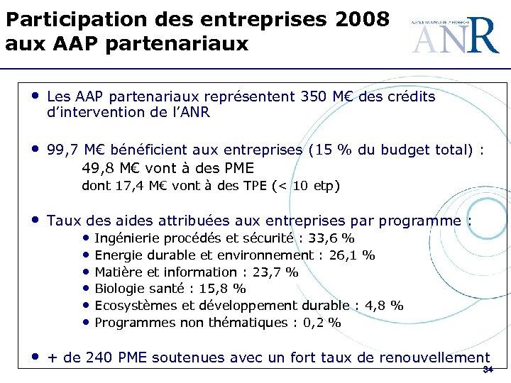 Participation des entreprises 2008 aux AAP partenariaux • Les AAP partenariaux représentent 350 M€