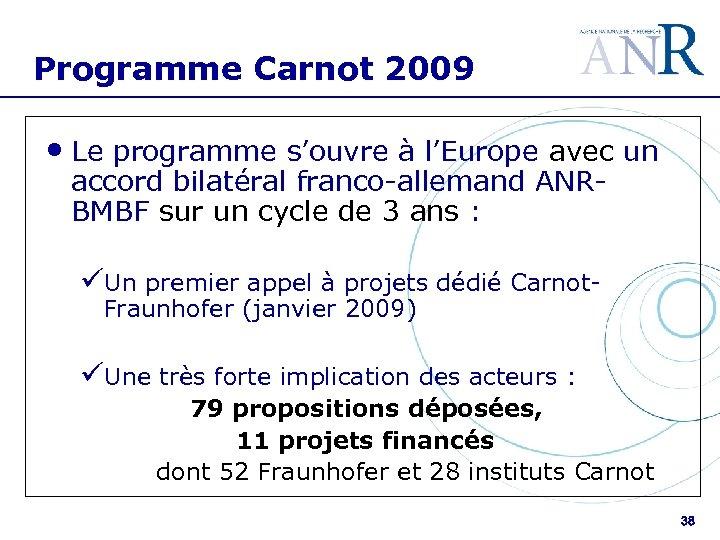 Programme Carnot 2009 • Le programme s'ouvre à l'Europe avec un accord bilatéral franco-allemand