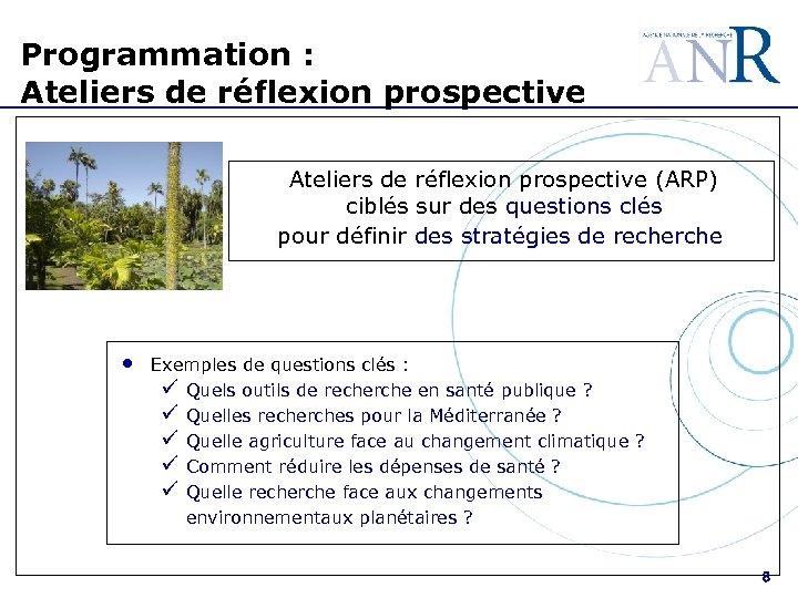 Programmation : Ateliers de réflexion prospective (ARP) ciblés sur des questions clés pour définir