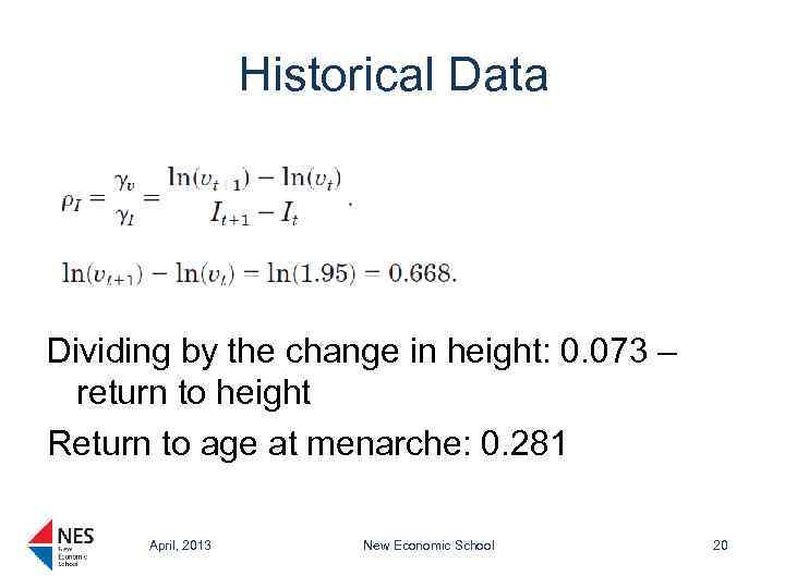Historical Data Dividing by the change in height: 0. 073 – return to height
