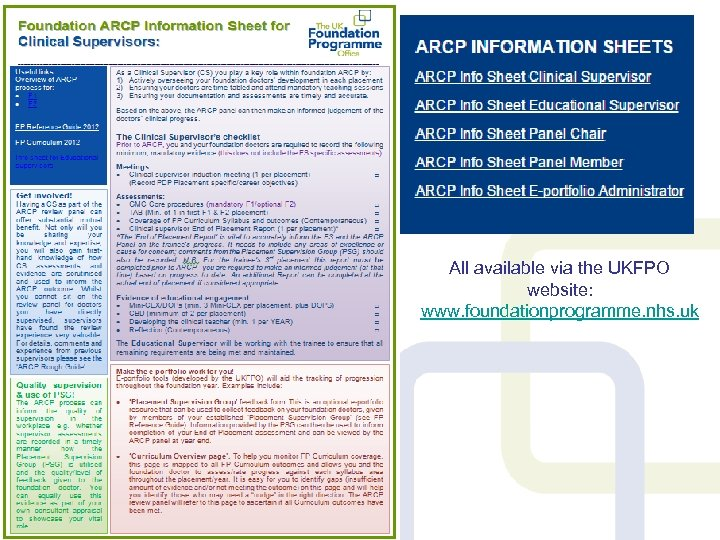 Supporting ARCP resources All available via the UKFPO website: www. foundationprogramme. nhs. uk