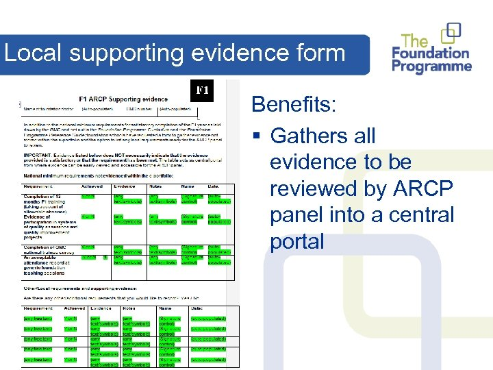 Local supporting evidence form Benefits: § Gathers all evidence to be reviewed by ARCP