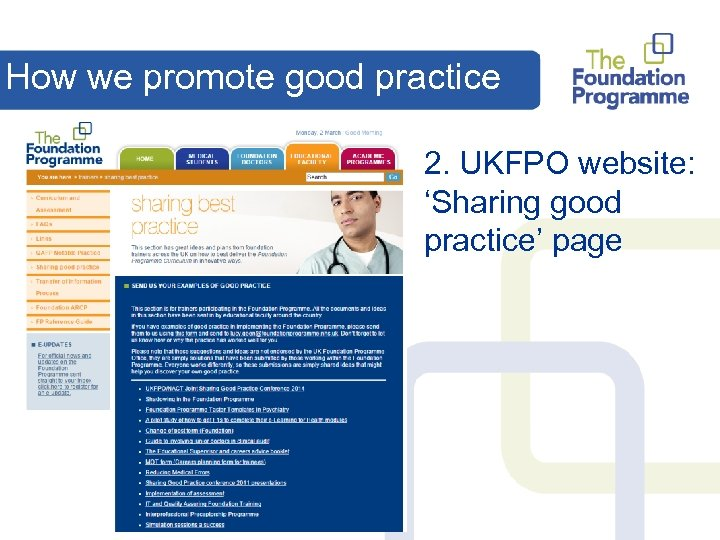 How we promote good practice 2. UKFPO website: 'Sharing good practice' page