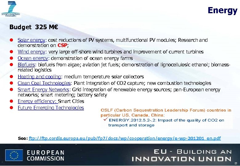 Energy Budget 325 M€ l Solar energy: cost reductions of PV systems, multifunctional PV