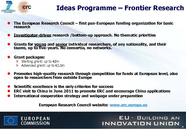 Ideas Programme – Frontier Research l The European Research Council – first pan-European funding