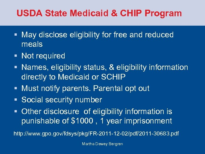 USDA State Medicaid & CHIP Program § May disclose eligibility for free and reduced
