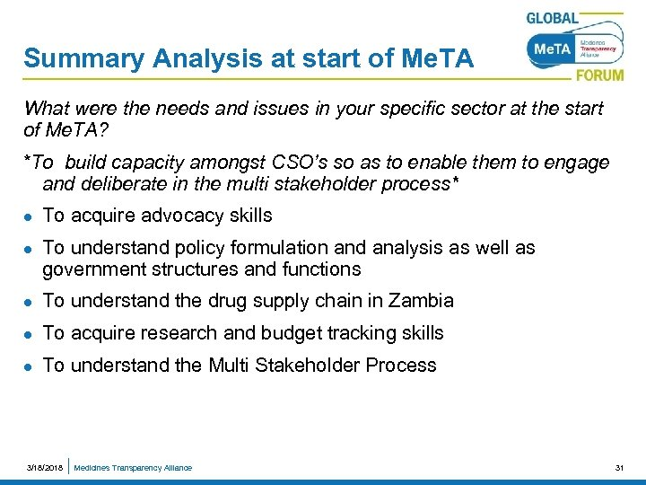 Summary Analysis at start of Me. TA What were the needs and issues in