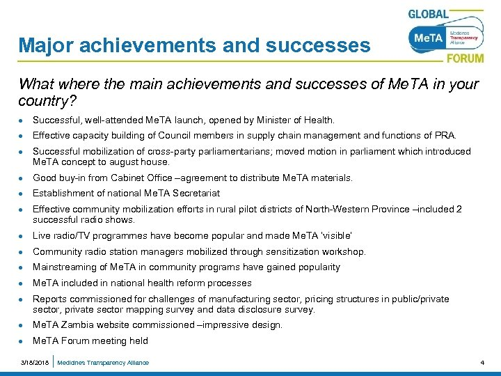 Major achievements and successes What where the main achievements and successes of Me. TA