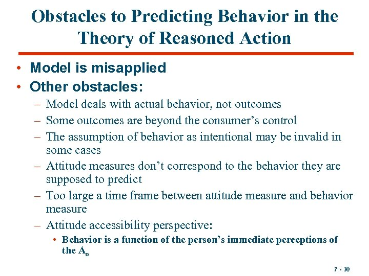 Obstacles to Predicting Behavior in the Theory of Reasoned Action • Model is misapplied