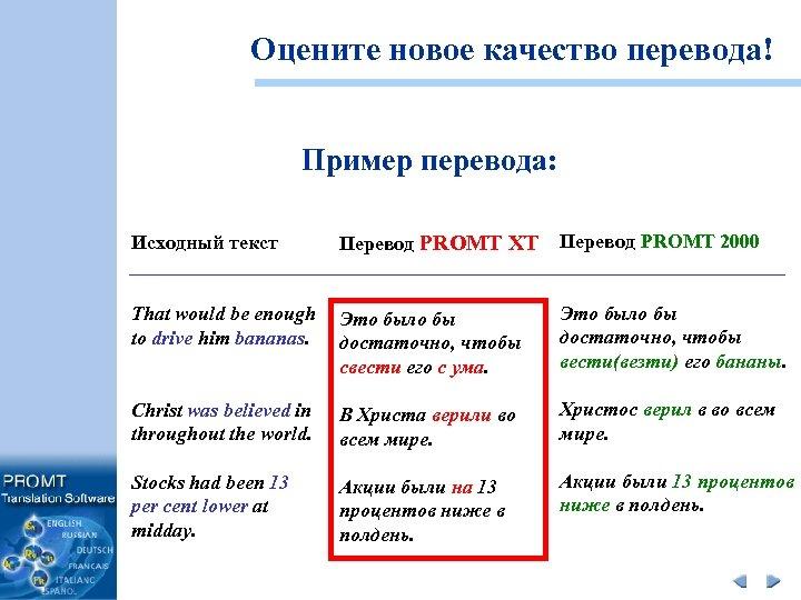 Оцените новое качество перевода! Пример перевода: Исходный текст Перевод PROMT XT Перевод PROMT 2000