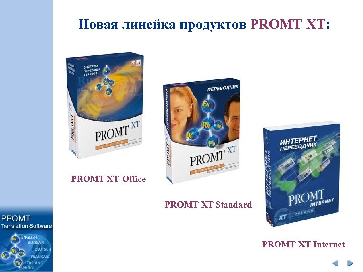 Новая линейка продуктов PROMT XT: PROMT XT Office PROMT XT Standard PROMT XT Internet