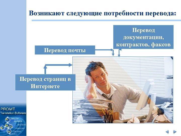 Возникают следующие потребности перевода: Перевод почты Перевод страниц в Интернете Перевод документации, контрактов, факсов