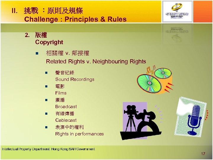 II. 挑戰 ︰原則及規條 Challenge : Principles & Rules 2. 版權 Copyright n 相關權 v.