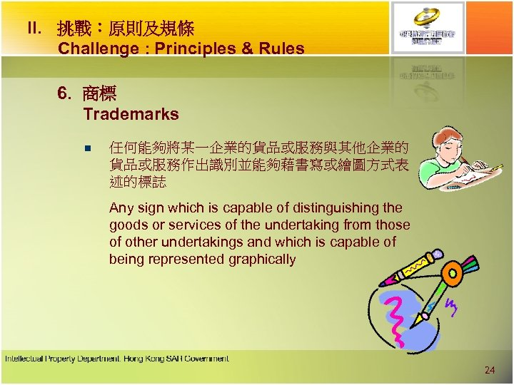 II. 挑戰︰原則及規條 Challenge : Principles & Rules 6. 商標 Trademarks n 任何能夠將某一企業的貨品或服務與其他企業的 貨品或服務作出識別並能夠藉書寫或繪圖方式表 述的標誌