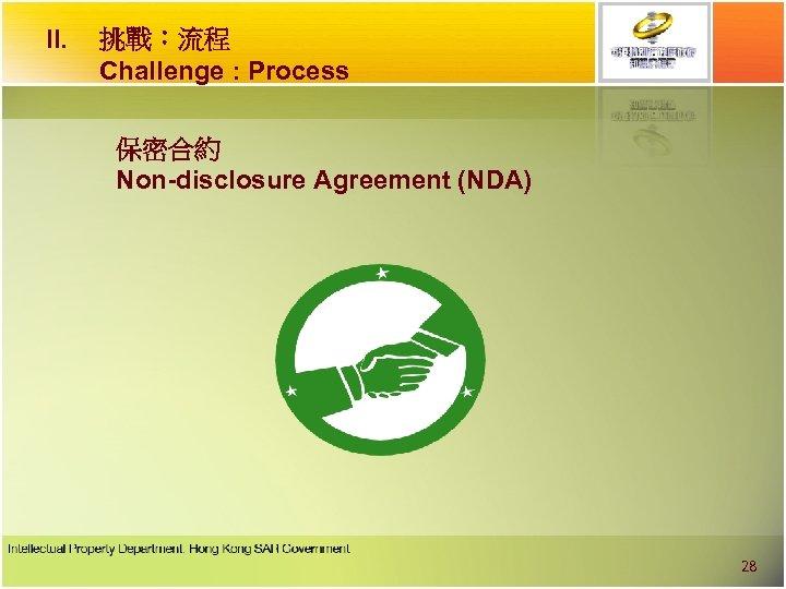 II. 挑戰︰流程 Challenge : Process 保密合約 Non-disclosure Agreement (NDA) 28