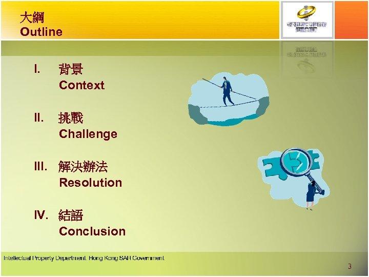 大綱 Outline I. 背景 Context II. 挑戰 Challenge III. 解決辦法 Resolution IV. 結語 Conclusion