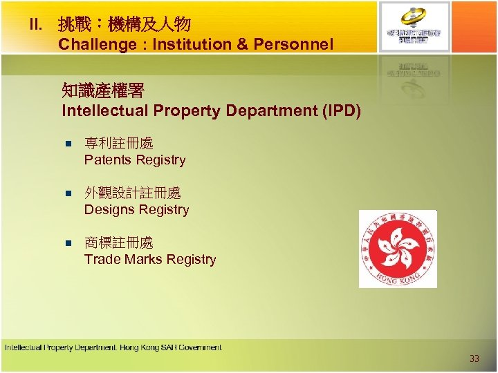 II. 挑戰︰機構及人物 Challenge : Institution & Personnel 知識產權署 Intellectual Property Department (IPD) n 専利註冊處