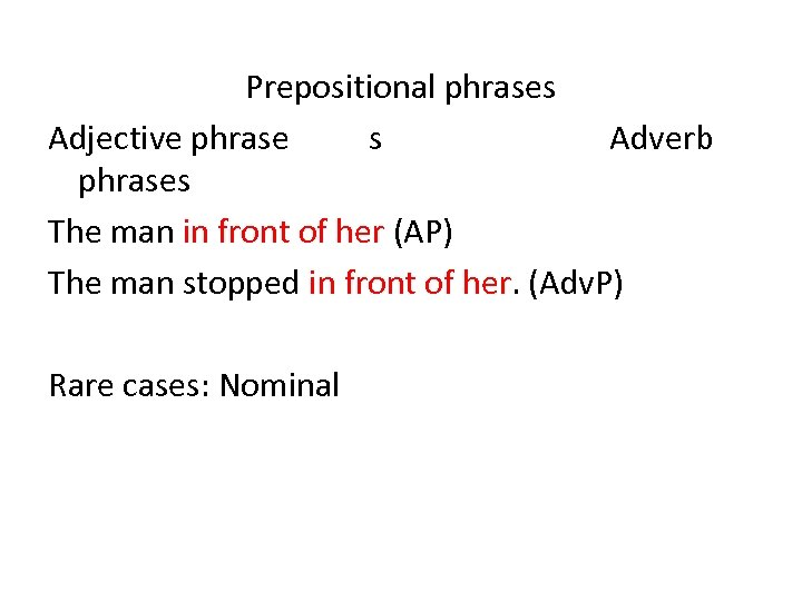 Prepositional phrases Adjective phrase s Adverb phrases The man in front of her (AP)