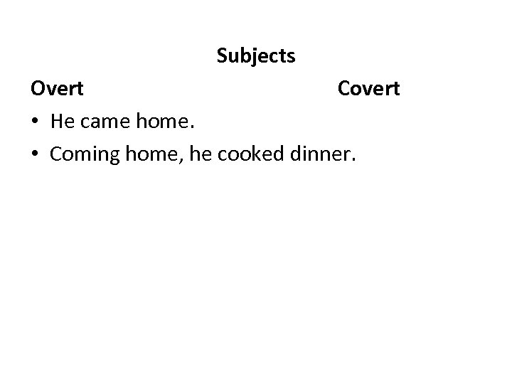Subjects Overt Covert • He came home. • Coming home, he cooked dinner.