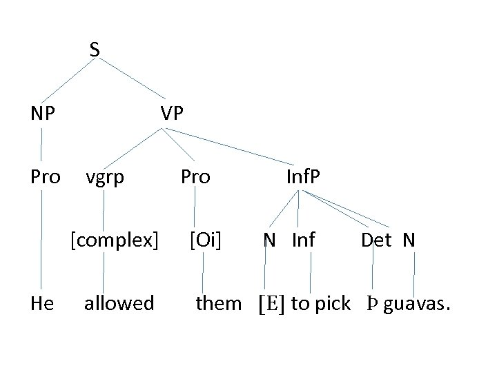 S NP Pro VP vgrp [complex] He allowed Pro [Oi] Inf. P N Inf