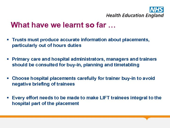What have we learnt so far … § Trusts must produce accurate information