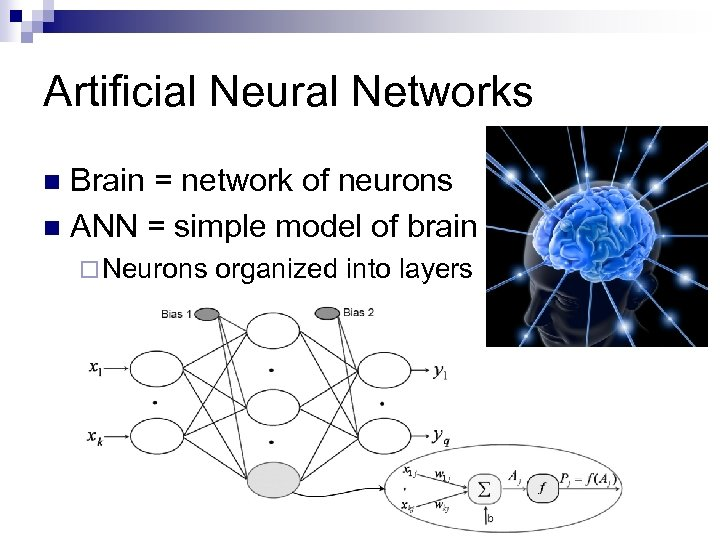 Artificial Neural Networks Brain = network of neurons n ANN = simple model of