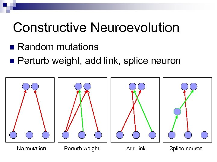 Constructive Neuroevolution Random mutations n Perturb weight, add link, splice neuron n No mutation