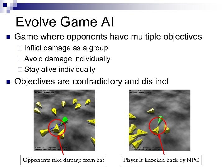 Evolve Game AI n Game where opponents have multiple objectives ¨ Inflict damage as