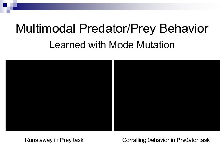 Multimodal Predator/Prey Behavior Learned with Mode Mutation Runs away in Prey task Corralling behavior