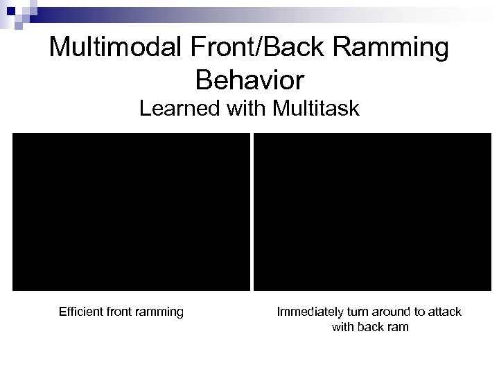 Multimodal Front/Back Ramming Behavior Learned with Multitask Efficient front ramming Immediately turn around to