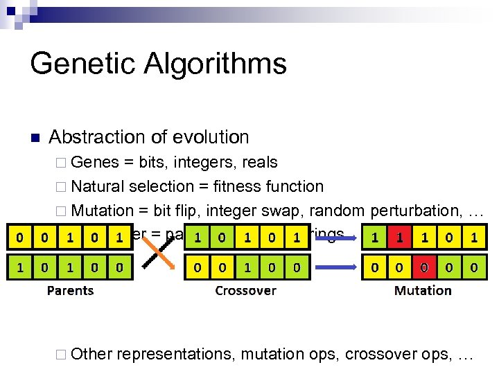 Genetic Algorithms n Abstraction of evolution ¨ Genes = bits, integers, reals ¨ Natural
