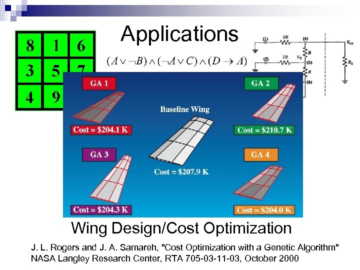 Applications Wing Design/Cost Optimization J. L. Rogers and J. A. Samareh,