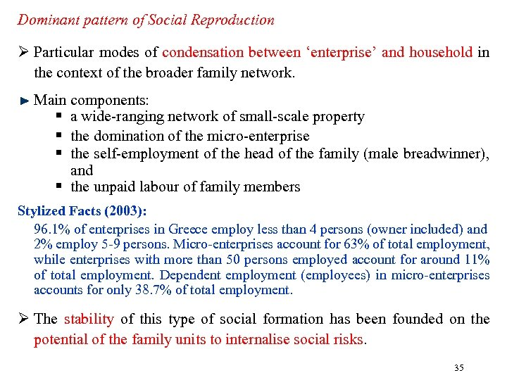 Dominant pattern of Social Reproduction Ø Particular modes of condensation between 'enterprise' and household