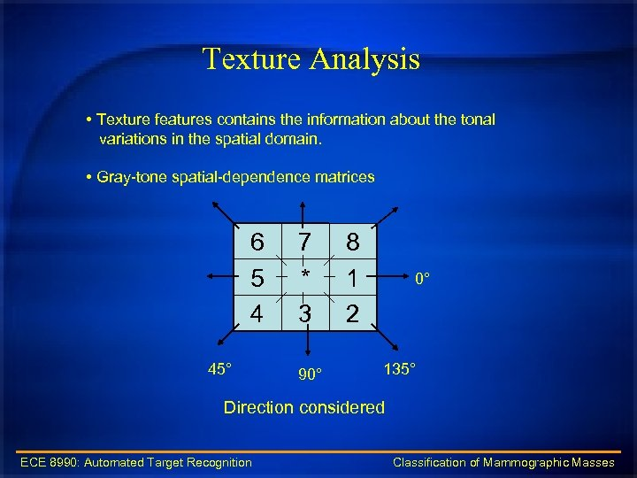 Texture Analysis • Texture features contains the information about the tonal variations in the
