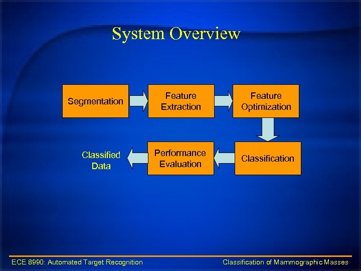 System Overview Segmentation Classified Data Feature Extraction Feature Optimization Performance Evaluation Classification ECE 8990: