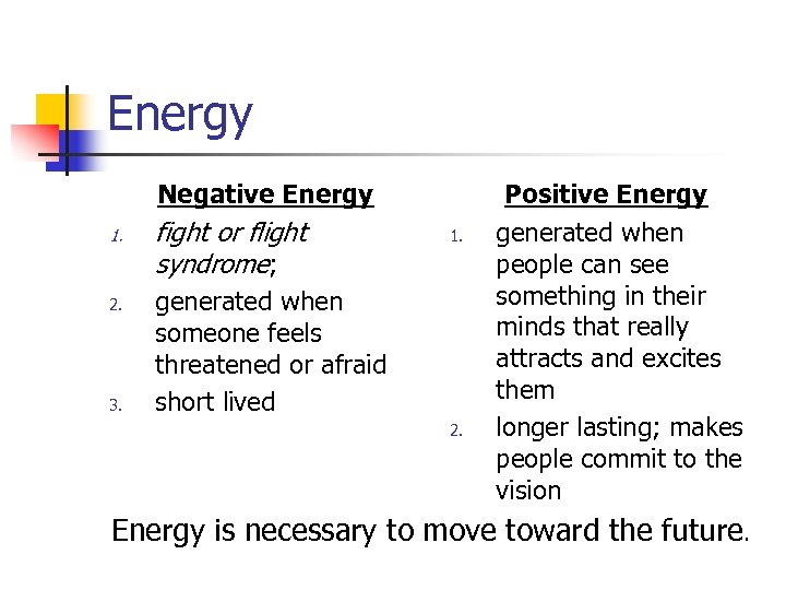 Energy Negative Energy 1. 2. 3. fight or flight syndrome; 1. generated when someone