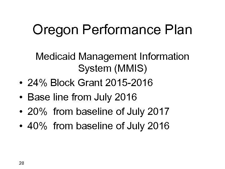 Oregon Performance Plan • • 28 Medicaid Management Information System (MMIS) 24% Block Grant